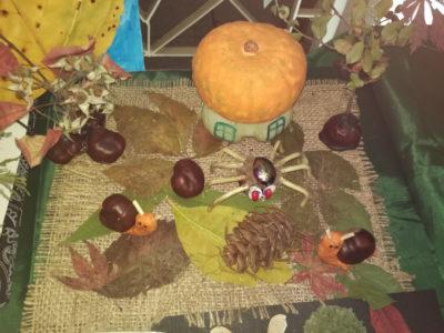 Детские поделки на тему Осень из каштанов